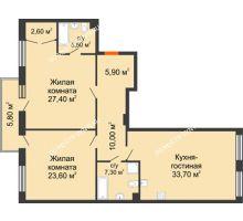 2 комнатная квартира 118 м² в ЖК Георгиевский, дом 2а - планировка
