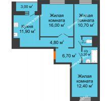3 комнатная квартира 68,6 м² в ЖК Левенцовка парк, дом Корпус 8-5 - планировка