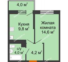 1 комнатная квартира 33,8 м² в ЖК Отражение, дом Литер 2.2 - планировка