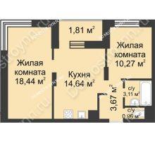 2 комнатная квартира 52,9 м² - ЖК Университетский