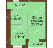 1 комнатная квартира 42,22 м² в ЖК Солнечный, дом № 3 - планировка