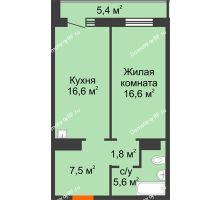 1 комнатная квартира 50,8 м² в ЖК на Калинина, дом № 2.1 - планировка