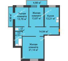 3 комнатная квартира 93 м², ЖК Дом на Троицкой - планировка