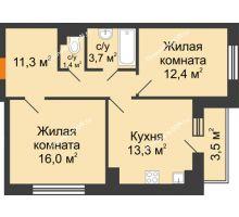 2 комнатная квартира 59,9 м² в ЖК Южный Берег, дом Литер 6 - планировка