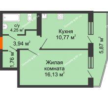 1 комнатная квартира 39,78 м², ЖК 9 Ярдов - планировка