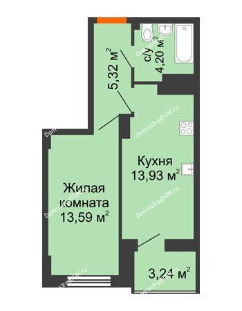 1 комнатная квартира 38,66 м² в ЖК Аврора, дом № 3