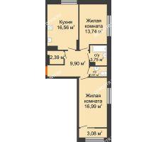 2 комнатная квартира 66,78 м² в ЖК Маленькая страна, дом № 4 - планировка