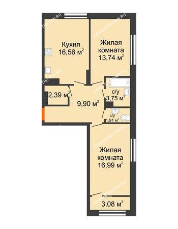 2 комнатная квартира 66,78 м² в ЖК Маленькая страна, дом № 4