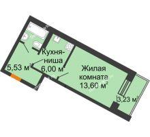 1 комнатная квартира 29,52 м² в ЖК Мандарин, дом 2 позиция 9,10 секция - планировка