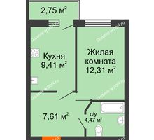 1 комнатная квартира 35,17 м² в ЖК Артемовский квартал, дом Секция 8 - планировка