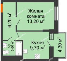1 комнатная квартира 34,9 м² в ЖК Династия, дом Литер 2 - планировка