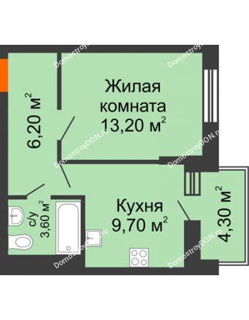 1 комнатная квартира 34,9 м² в ЖК Династия, дом Литер 2