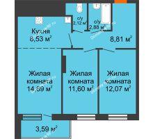 3 комнатная квартира 64,29 м² в ЖК На Хмельницкого, дом № 3 - планировка
