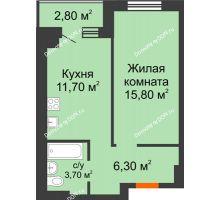 1 комнатная квартира 38,5 м² в Микрорайон Прибрежный, дом № 7 - планировка