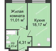 1 комнатная квартира 37,72 м² в ЖК Клевер, дом № 1 - планировка