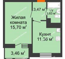 1 комнатная квартира 36,76 м² в ЖК Книги, дом № 1 - планировка