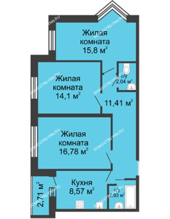 3 комнатная квартира 72,99 м² - ЖК Волжский-Берег