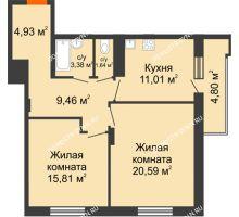 2 комнатная квартира 69,22 м² в ЖК Циолковский, дом № 3 - планировка