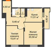 2 комнатная квартира 69,22 м² в ЖК Циолковский, дом № 6 - планировка