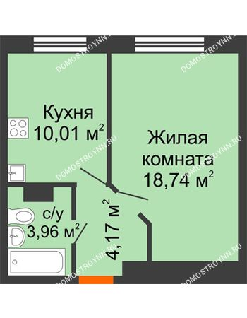 1 комнатная квартира 36,88 м² - ЖК Зеленый берег Life