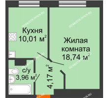 1 комнатная квартира 36,88 м², ЖК Зеленый берег Life - планировка