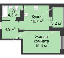 1 комнатная квартира 36,8 м² в ЖК Аквамарин, дом №8 - планировка
