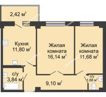 2 комнатная квартира 53,16 м² в ЖК Соловьиная роща, дом № 4 - планировка