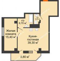2 комнатная квартира 67,8 м², ЖК Sacco & Vanzetty, 82 (Сакко и Ванцетти, 82) - планировка