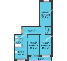 3 комнатная квартира 81,6 м² - ЖК Дом на Нижегородской