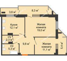 2 комнатная квартира 68,2 м² - ЖК на ул. Греческого Города Волос, 82