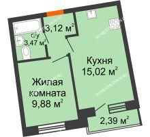 1 комнатная квартира 32,84 м² в ЖК Ватсон, дом № 3А - планировка