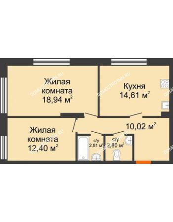 2 комнатная квартира 61,58 м² в ЖК Маленькая страна, дом № 4