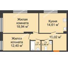 2 комнатная квартира 61,58 м² в ЖК Маленькая страна, дом № 4 - планировка