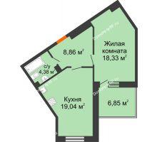 1 комнатная квартира 53,7 м², ЖД Жизнь - планировка