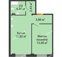 1 комнатная квартира 41,97 м² в ЖК Лайм, дом № 1