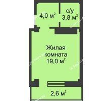 Студия 29,5 м² в ЖК На Победной, дом № 3 - планировка