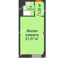 Студия 28,27 м², Апарт-Отель Гордеевка - планировка