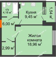 1 комнатная квартира 43,12 м² в ЖК Суворов-Сити, дом 1 очередь секция 6-13 - планировка