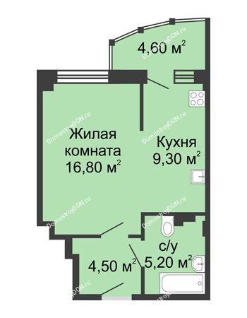 1 комнатная квартира 40,4 м² в ЖК Мега, дом № 2