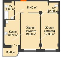 2 комнатная квартира 69,4 м² в ЖК Парк Островского 2, дом № 1 - планировка