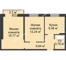 2 комнатная квартира 49 м² в ЖК Тридесятое, дом № 19 - планировка