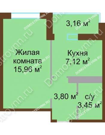 1 комнатная квартира 31,9 м² в ЖК Мой дом на Коломенской, дом № 1