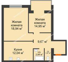 2 комнатная квартира 60,21 м², ЖК Зеленый квартал 2 - планировка