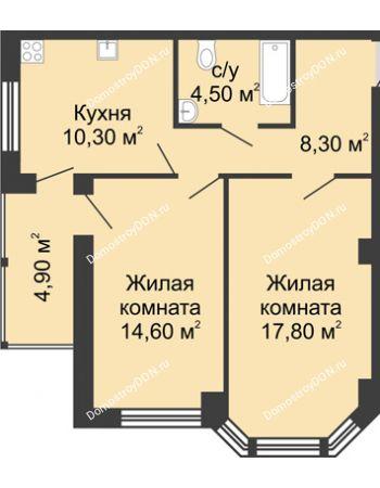 2 комнатная квартира 60,4 м² в ЖК Мега, дом № 2