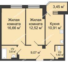 2 комнатная квартира 56,42 м² в ЖК Сердце Ростова, дом Этап II