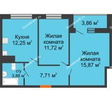 2 комнатная квартира 53,36 м² в ЖК Юго-Западный, дом ГП-1 - планировка