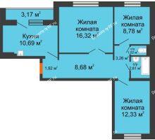 3 комнатная квартира 67,2 м² в ЖК Иннoкeнтьeвcкий, дом № 6 - планировка