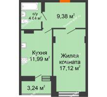 1 комнатная квартира 46,37 м², ЖК Галактика - планировка
