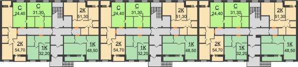 Планировка 1 этажа в доме № 15 в ЖК Куйбышев