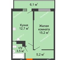 1 комнатная квартира 38,4 м², ЖК Акварели-3 - планировка